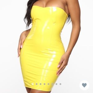 Yellow latex fashion nova dress size small